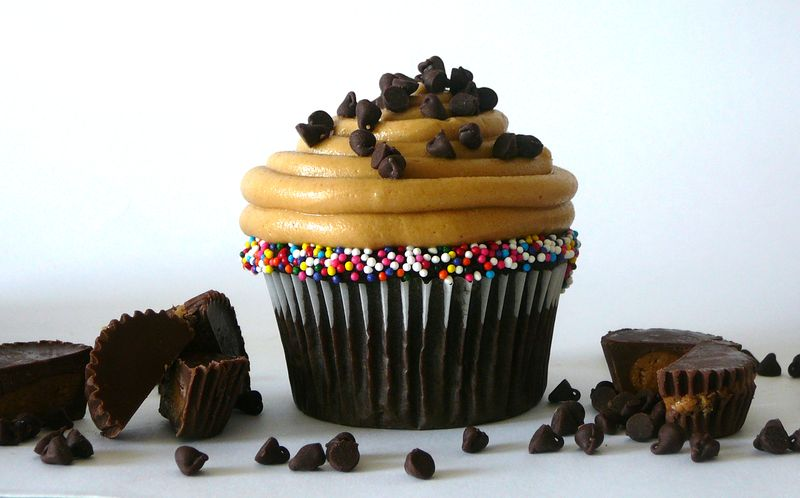 Chocolate Peanut Butter Cupcakes Stuffed with Peanut Butter Cups - The Crafting Foodie