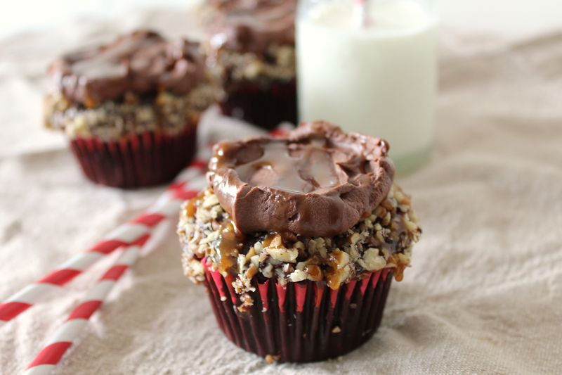Chocolate Cupcakes Stuffed with Homemade Salted Caramel and Pecans | The Crafting Foodie
