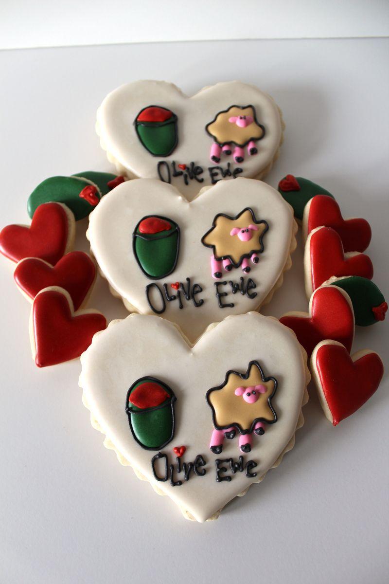 Olive Ewe Sugar Valentine's Day Cookies  The Crafting Foodie